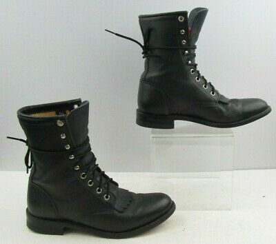 0bc234cdc991 LADIES JUSTIN BLACK Lace Up Roper Western Boots Size  6.5B -  39.99 ...