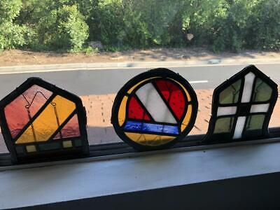3 antique small leaded stained glass decorative windows