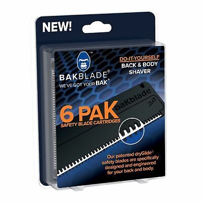 Bakblade 2.0 Mens DIY Easy to Use Back Hair Remover Replacement Blades 6-Pack