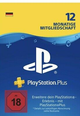 Sony Playstation Plus + PS4 12 Monate 365 ps3 Neu Code Mail Mitgliedschaft DE