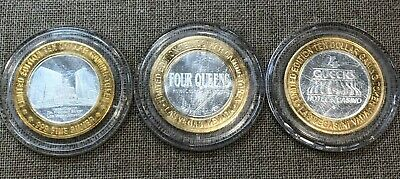 FOUR QUEENS CASINO .999 FINE SILVER LIMITED EDITION $10 GAMING TOKENs - Set of 3