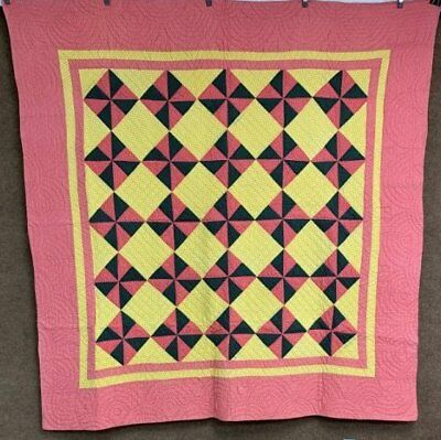 Antique 1890s PA Pinwheel ANTIQUE Quilt Green Yellow Pink Farmhouse