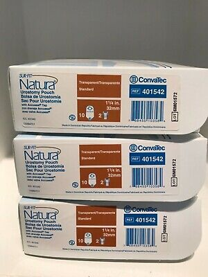 Lot Of 3 Convatec 401542 Sur-Fit Natura Urostomy Pouch