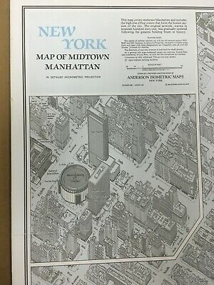 1980 Anderson Isometric Map Of Midtown Manhattan NY