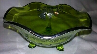Antique Green Silver City Glass Poppy Sterling Silver Overlay Footed Bowl