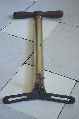 RARE FIND! VINTAGE FRENCH 1930S BICYCLE HANDPUMP Brass W/ Wooden Handle 17.5inch