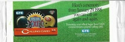 1995 Collectible GTE Super Bowl Chargers vs 49ers Prepaid Phone Card