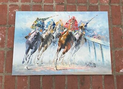 Original Oil Painting By Veccio! Vtg Horse Art Leroy Neiman Era 5 Horses
