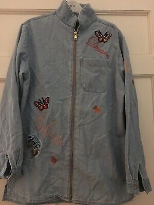 River Island Girls Denim Shirt/jacket Butterfly Flower Age 11-12 Used