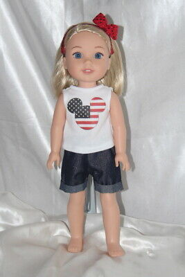 Patriotic Dress Outfit fits 14inch American Girl Wellie Wishers Doll Clothes Lot