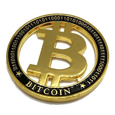 1Pc Bitcoin Commemorative Collectible Coin Bit Coin Hollow Gold Plated Physical