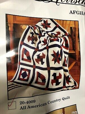 ~Herrschners Crochet All American Country Afghan Kit Vintage # 20-4009 Open Pack