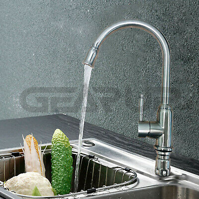 Chrome Kitchen Hot/Cold Water Faucet Swivel Spout Single Handle Sink Spray US