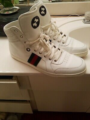 16e212315 GUCCI WHITE LEATHER Gg Guccissima Web High Top Sneakers 14.5 ...
