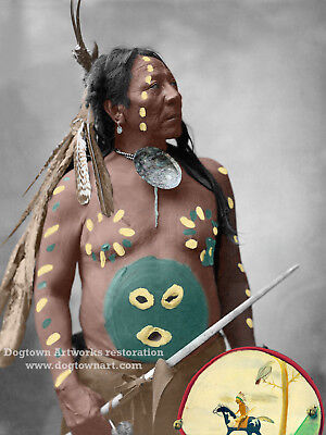 COLOR VINTAGE NATIVE American Indian Photograph LAST HORSE ...