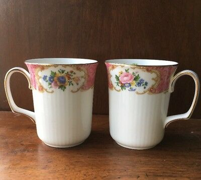 Vintage Royal Albert Lady Carlyle Bone China Coffee Mugs Lot Of 2