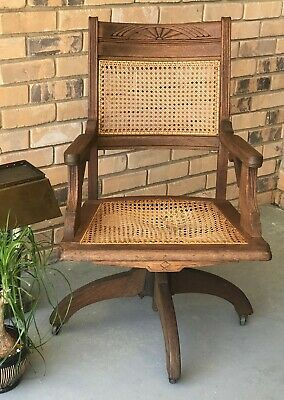 Vintage Caned Dark Walnut Bankers Office Swivel Chair