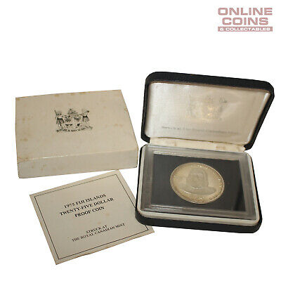 1975 Royal Canadian Mint Fiji Islands Silver Proof $25 Coin in Case King Cakabau