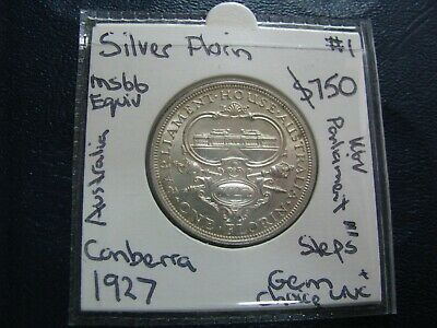 Australia Florin 1927 C Silver Coin King George V  GEM Choice Uncirculated Steps