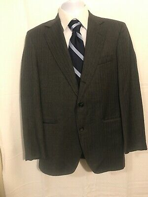 Huntington mens Herringbone 38R Wool Sport Coat blazer jacket W/ One Whole