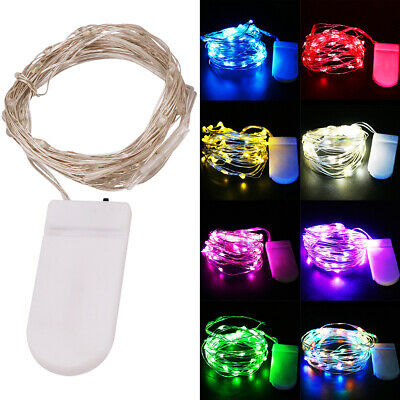 2M 20LED String Battery Operated Silver Wire Fairy Lights Xmas Home Party Decor