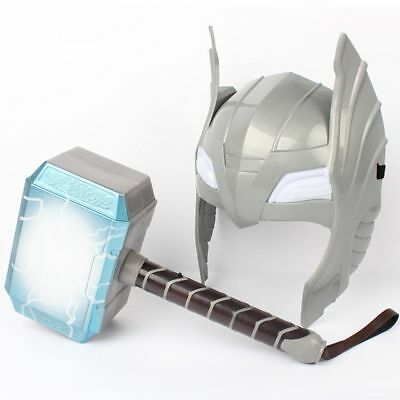 US LED Glowing And Sounds Hammer LED Mask Thor Action Figures Cosplay Kids Toys