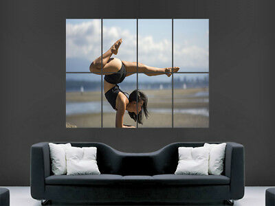 Fitness Gym Poster Girl Sexy Abs Toned Yoga Weights Wall Art Picture Gymnastics