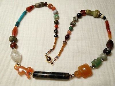 2000yrs+ ancient western&asian various beads made necklace#191164