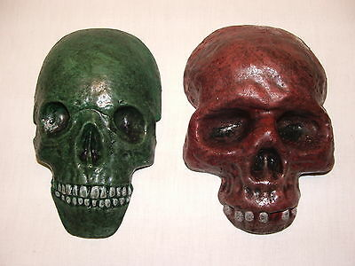 Latex Mould Moulds Mold.     A Pair Of Skull Wall Plaques.