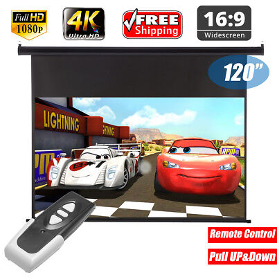 """120""""Inch 16:9 Wall Ceiling Electric Motorized HD 3D 4K Projector Screen + Remote"""