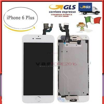 BIANCO DISPLAY PER IPHONE 6PLUS ASSEMBLATO COMPLETO SCHERMO LCD + Button Camera