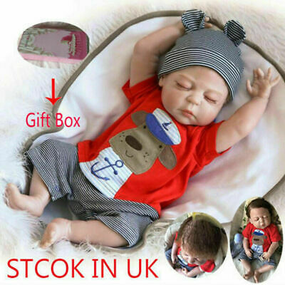 "22""Full Body Silicone Realistic Reborn Dolls Lifelike Baby boy Newborn Doll Gift"