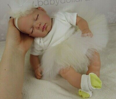 Angel Reborn Baby Girl Doll, handmade tutu and wing set by BabyDollArt UK