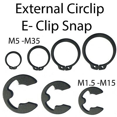 External Circlip E-Clip Snap Retaining Ring for Shaft 1.5mm to 35mm