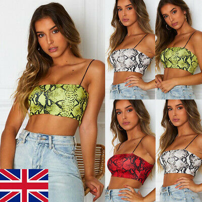Women Sexy Sleeveless Crop Tops Tee Snake Skin Print Tant tops Bodysuit Shirt UK