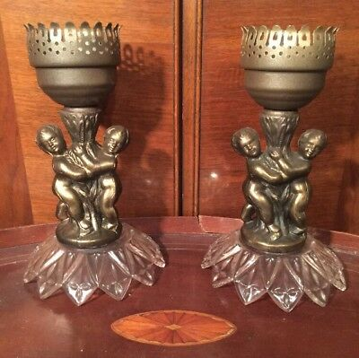 Vintage Pair Crystal Cut Federal Glass & Brass Cherubs Candle Holders Sconces