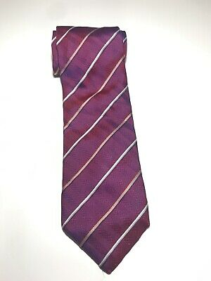 Vintage Mens HARDY AMIES TIE Woven Pure Shot Silk Magenta Pink with Stripes