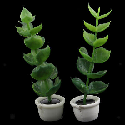 2pcs Miniature Potted Green Plant Resin 1/12 Dollhouse Room Box Accessories