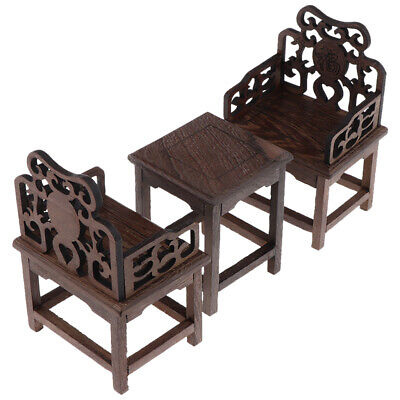 Dollhouse Miniature Wooden Table and 2 Chairs 1:6 Scale Vintage Style A