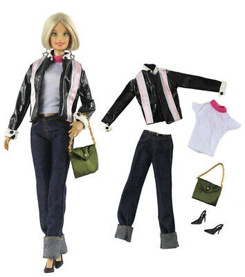 5 Pcs Set Fashion Outfit Leather jacket+vest+pants+bag FOR 11 in. Doll Clothes