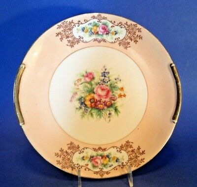 Noritake Cake Plate - Hand Painted - Pink With Bouquets And Gold Handles - Japan