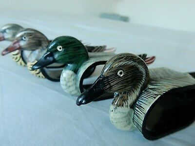 Complete Set of 6 Hand Painted Ducks Napkin Rings