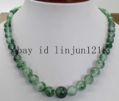 Natural Hot 6-12mm Green Jade Gemstone Beads Necklace 18'' AAA