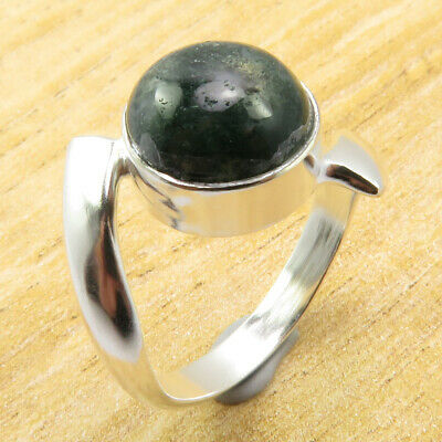 Wonderful Moss Agate Size 6.75 Ring GEM Silver Plated Jewellery WHOLESALE PRICE