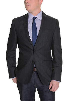 DKNY Mens Trim Fit Charcoal Gray Herringbone Two Button Wool Blazer Sportcoat
