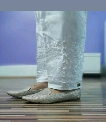 New Asain Indian Pakistani XXL Trousers White Cigarette Style Embroidered Pants