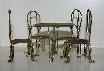 Vintage 1980s Metal Doll Furniture / Table and 4 Chairs