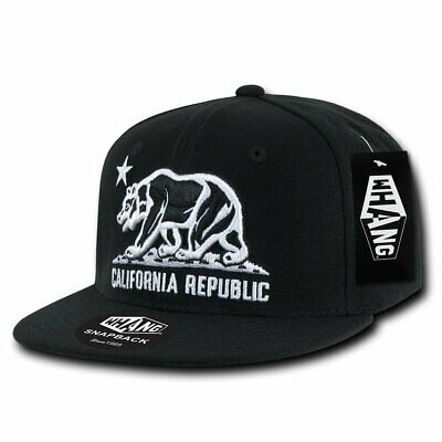 8366b4cc18a00e Embroidered Adjustable Snapback Hat/Cap All Black Cali Bear Logo Flag WHANG