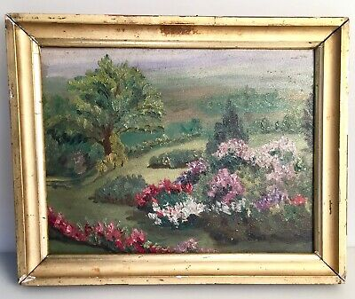 Charming Antique Oil on Board Painting Floral Garden Unsigned in Gold Leaf Frame