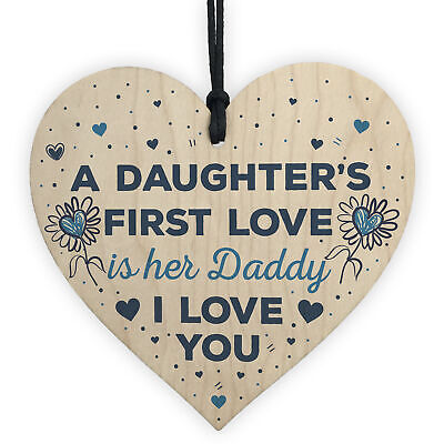 Love Daddy Dad Wooden Heart Happy Birthday Card Gift Daughter Baby Thank You